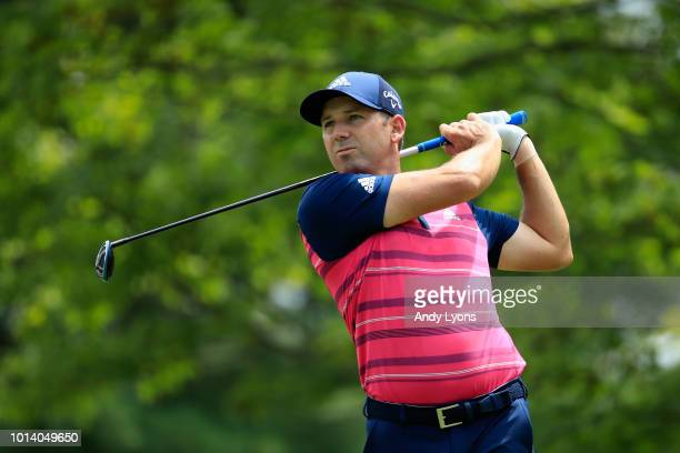 Sergio Garcia of Spain plays his shot from the second tee during the first round of the 2018 PGA Championship at Bellerive Country Club on August 9...