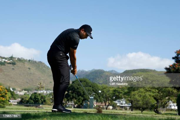 Sergio Garcia of Spain plays his shot from the seventh tee during the second round of the Sony Open in Hawaii at the Waialae Country Club on January...