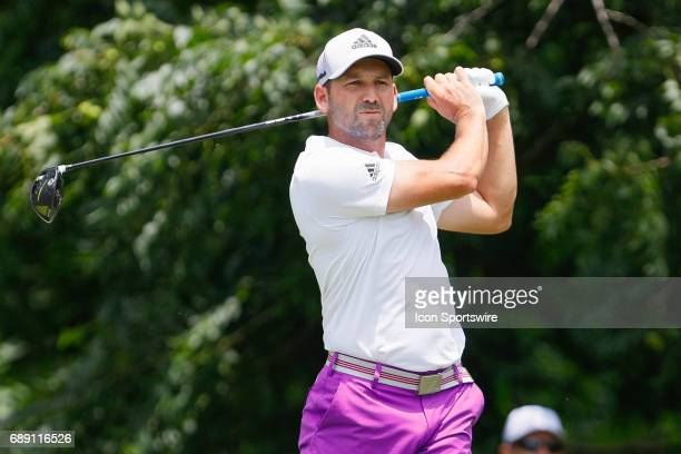 Sergio Garcia of Spain plays his shot from the sixth tee during the third round of the PGA Dean Deluca Invitational on May 27 2017 at Colonial...