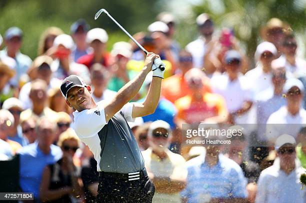 Sergio Garcia of Spain plays his shot from the third tee during round two of THE PLAYERS Championship at the TPC Sawgrass Stadium course on May 8...