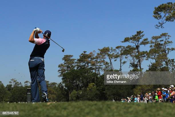 Sergio Garcia of Spain plays his shot from the third tee during the second round of THE PLAYERS Championship at the Stadium course at TPC Sawgrass on...