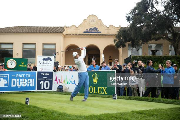 Sergio Garcia of Spain plays his shot off the 10th tee during day one of the Andalucia Valderrama Masters at Real Club Valderrama on October 18 2018...