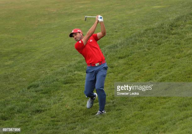 Sergio Garcia of Spain plays his shot on the 12th hole during the final round of the 2017 US Open at Erin Hills on June 18 2017 in Hartford Wisconsin