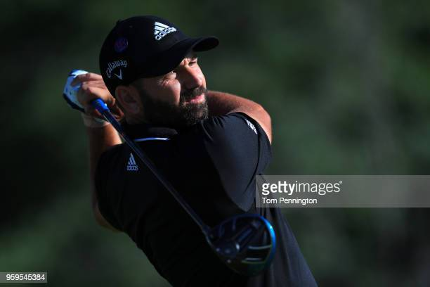Sergio Garcia of Spain plays his tee shot on the 14th hole during the first round of the AT&T Byron Nelson at Trinity Forest Golf Club on May 17,...