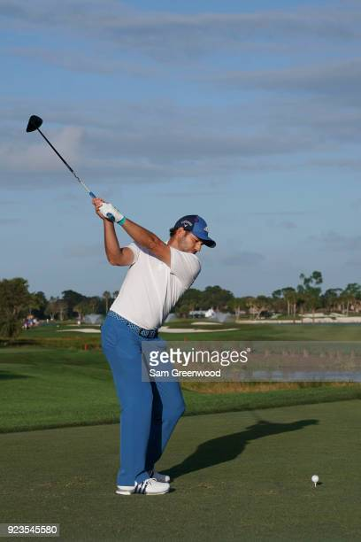 Sergio Garcia of Spain plays his tee shot on the 18th hole during the second round of the Honda Classic at PGA National Resort and Spa on February...