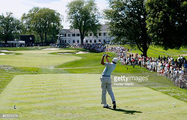 Sergio Garcia of Spain plays his tee shot on the ninth hole during round two of the 90th PGA Championship at Oakland Hills Country Club on August 8...