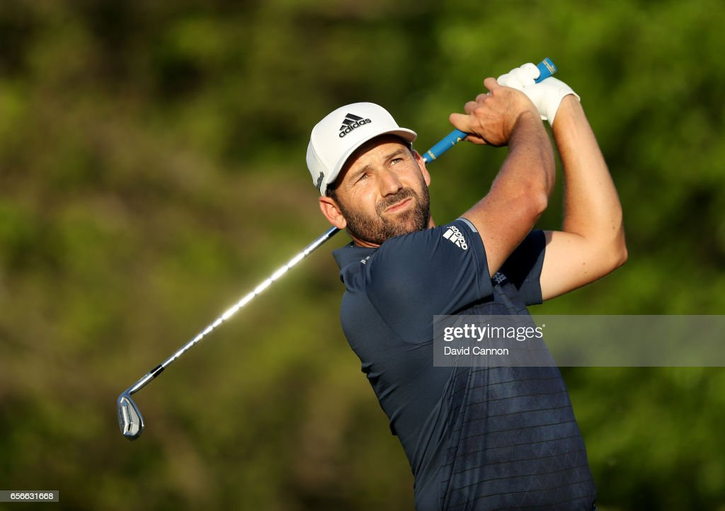 Sergio Garcia of Spain plays his tee shot on the par 3, 17th hole in his match against Shane Lowry during the first round of the 2017 Dell Match Play at Austin Country Club on March 22, 2017 in Austin, Texas.