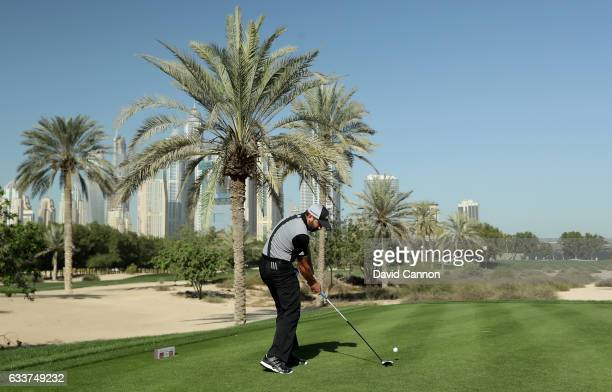 Sergio Garcia of Spain plays his tee shot on the par 4 16th hole during the completion of the weather delayed second round of the 2017 Omega Dubai...