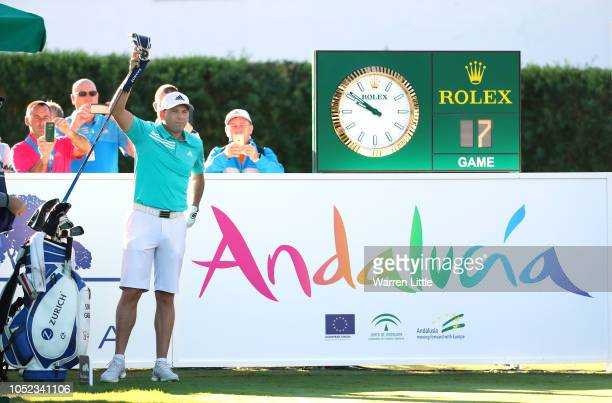 Sergio Garcia of Spain plays in the pro am ahead of the Andalucia Valderrama Masters at Real Club Valderrama on October 17 2018 in Cadiz Spain