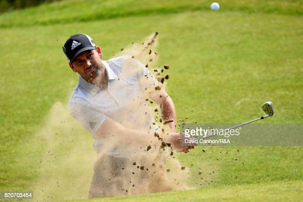 Sergio Garcia of Spain plays out of a bunker on the fifth hole during the third round of the 146th Open Championship at Royal Birkdale on July 22...
