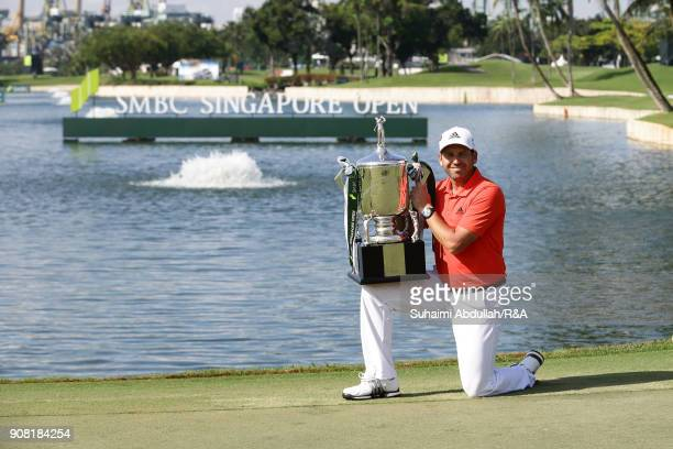 Sergio Garcia of Spain poses for a photo after winning the Singapore Open at Sentosa Golf Club on January 20 2018 in Singapore