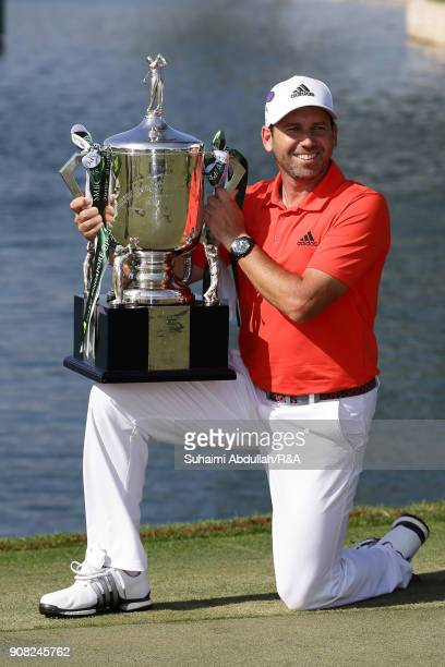 Sergio Garcia of Spain poses for a photo after winning the Singapore Open at Sentosa Golf Club on January 21 2018 in Singapore