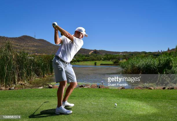 Sergio Garcia of Spain poses for a picture on the 17th hole during the pro- am prior to the Nedbank Golf Challenge at Gary Player CC on November 7,...