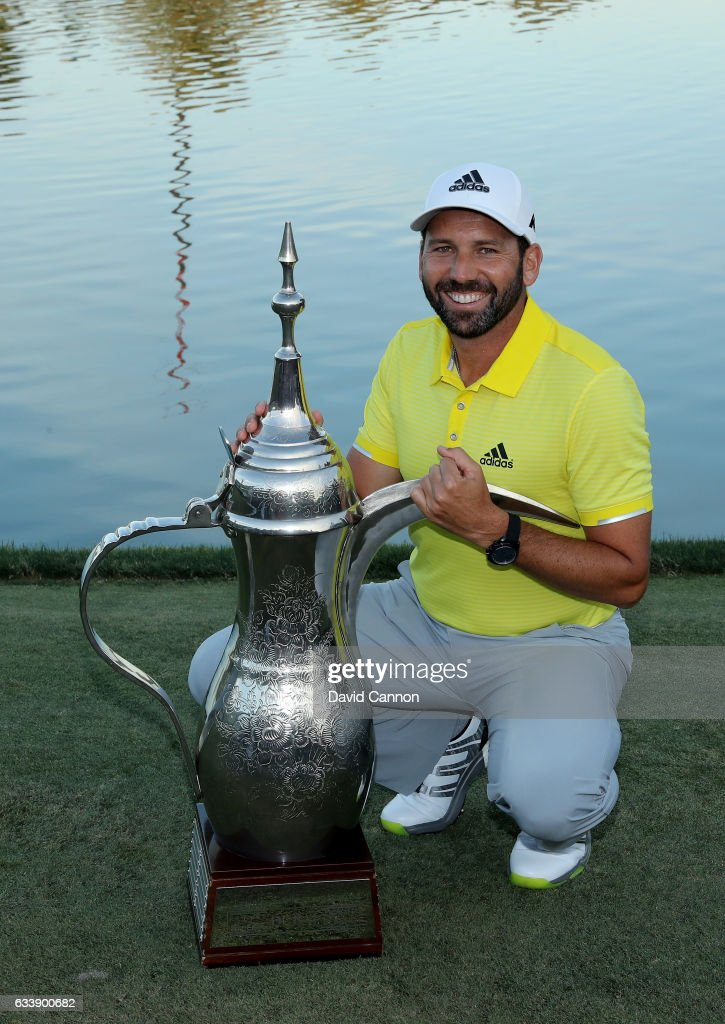 Sergio Garcia of Spain poses with the trophy after his two shot victory during the final round of the 2017 Omega Dubai Desert Classic on the Majlis Course at the Emirates Golf Club at Emirates Golf Club on February 5, 2017 in Dubai, United Arab Emirates.