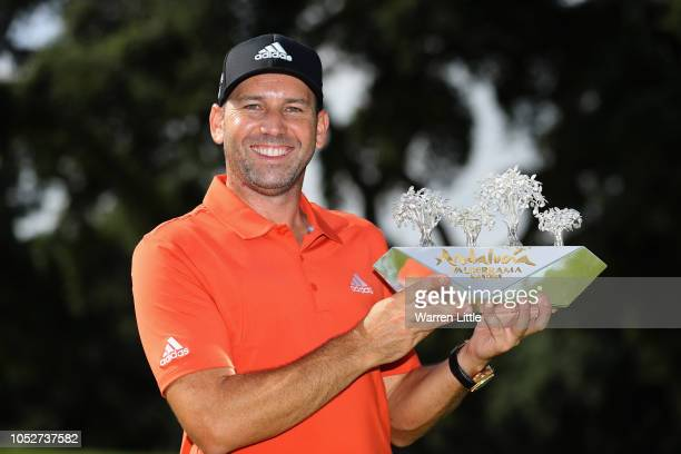 Sergio Garcia of Spain poses with the trophy after winning the Andalucia Valderrama Masters at Real Club Valderrama on October 22 2018 in Cadiz...