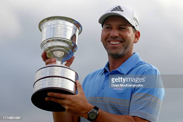 Sergio Garcia of Spain poses with the trophy following his victory on Day Four of the KLM Open at The International Golf Course on September 15, 2019...