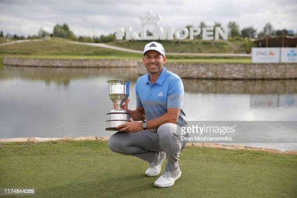 Sergio Garcia of Spain poses with the trophy following his victory during Day Four of the KLM Open at The International Golf Course on September 15,...