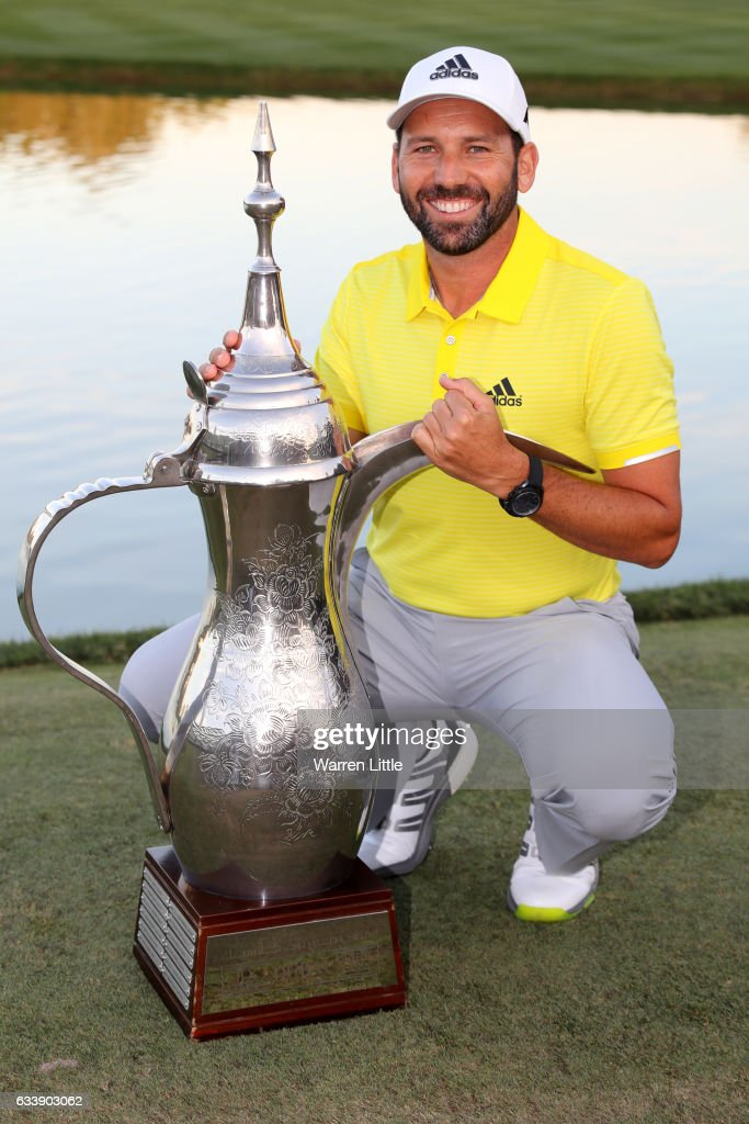 Sergio Garcia of Spain poses with the trophy following his victory during the final round of the Omega Dubai Desert Classic at Emirates Golf Club on February 5, 2017 in Dubai, United Arab Emirates.