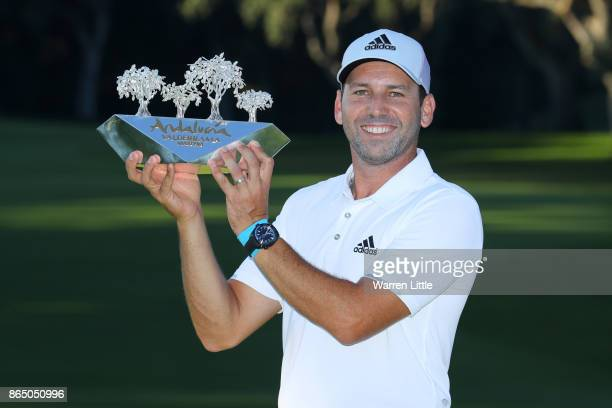 Sergio Garcia of Spain poses with the trophy following his victory during the final round of of the Andalucia Valderrama Masters at Real Club...