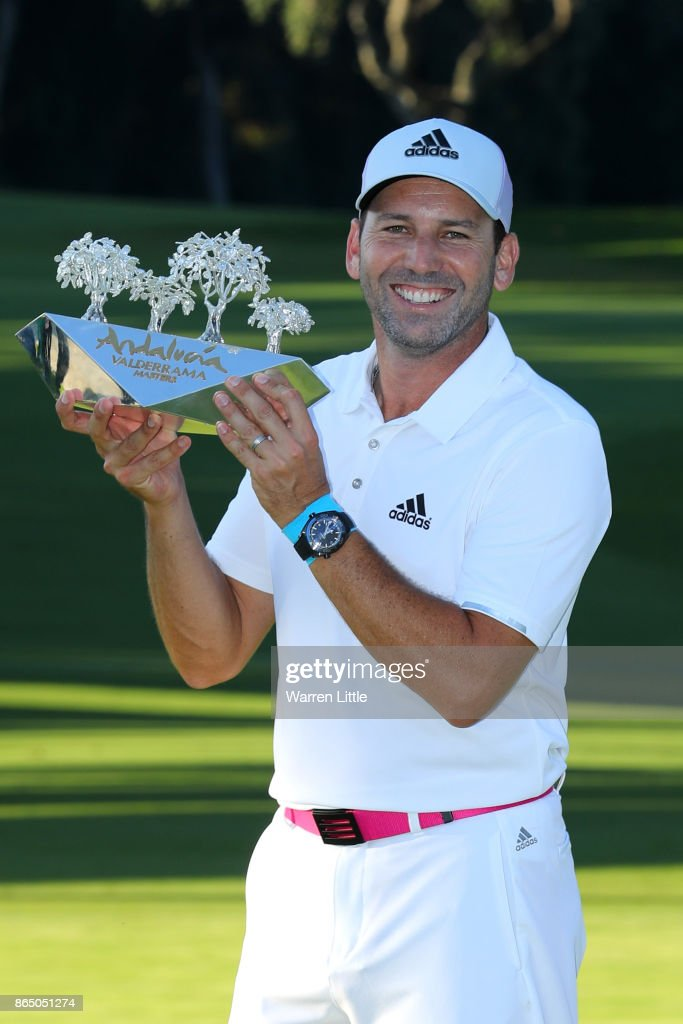 Sergio Garcia of Spain poses with the trophy following his victory during the final round of of the Andalucia Valderrama Masters at Real Club Valderrama on October 22, 2017 in Cadiz, Spain.