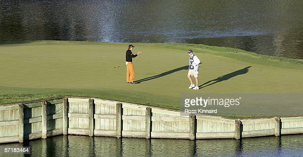 Sergio Garcia of Spain prepares to putt on the par three 17th hole during the third round of The Players Championship on the Stadium Course at the...