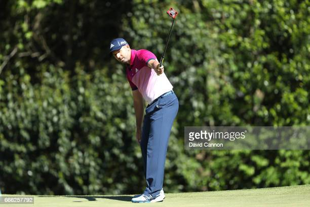 Sergio Garcia of Spain putts for birdie on the sixth hole during the third round of the 2017 Masters Tournament at Augusta National Golf Club on...