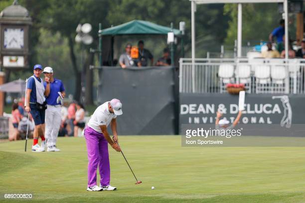 Sergio Garcia of Spain putts on during the third round of the PGA Dean Deluca Invitational on May 27 2017 at Colonial Country Club in Fort Worth TX