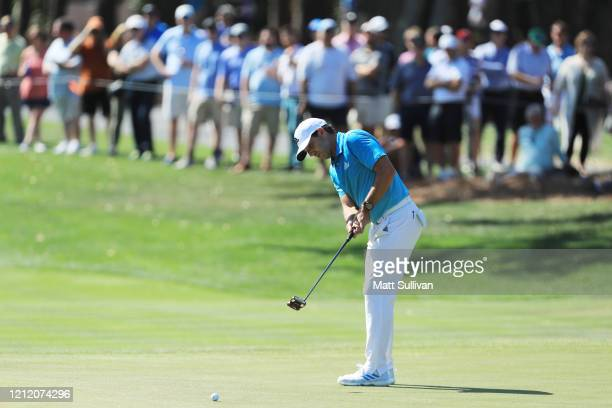 Sergio Garcia of Spain putts on the eighth green during the first round of The PLAYERS Championship on The Stadium Course at TPC Sawgrass on March 12...