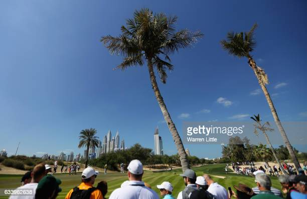 Sergio Garcia of Spain putts on the third green during the final round of the Omega Dubai Desert Classic on the Majlis course at Emirates Golf Club...