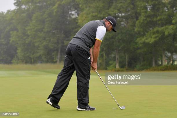 Sergio Garcia of Spain putts with an iron on the 15th green during round three of the Dell Technologies Championship at TPC Boston on September 3...