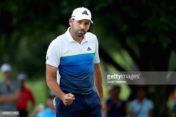 Sergio Garcia of Spain reacts after a putt on the eighth green during the Final Round at ATT Byron Nelson on May 22 2016 in Irving Texas