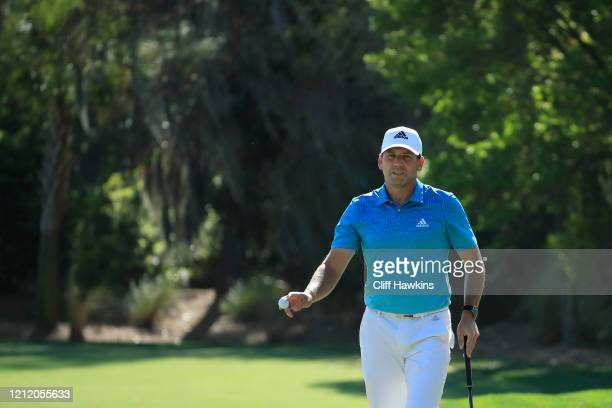 Sergio Garcia of Spain reacts after his putt on the 10th green during the first round of The PLAYERS Championship on The Stadium Course at TPC...