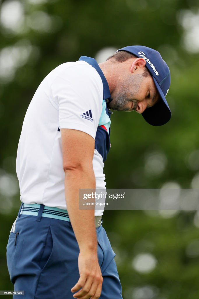 Sergio Garcia of Spain reacts after his shot from the fourth tee during the third round of the 2017 U.S. Open at Erin Hills on June 17, 2017 in Hartford, Wisconsin.