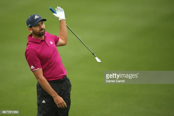 Sergio Garcia of Spain reacts after playing a shot on the 2nd hole of his match during round three of the World Golf ChampionshipsDell Technologies...