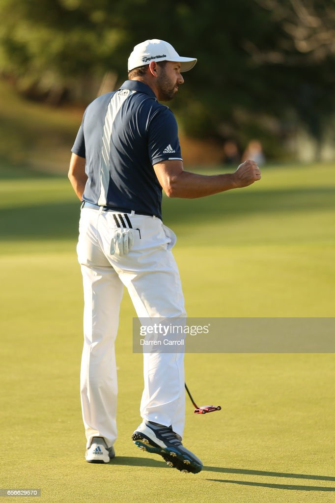 Sergio Garcia of Spain reacts after putting on the 16th hole of his match during round one of the World Golf Championships-Dell Technologies Match Play at the Austin Country Club on March 22, 2017 in Austin, Texas.