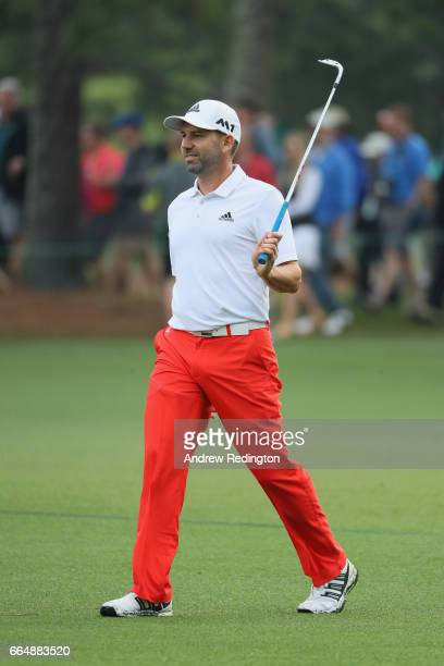 Sergio Garcia of Spain reacts during a practice round prior to the start of the 2017 Masters Tournament at Augusta National Golf Club on April 5 2017...