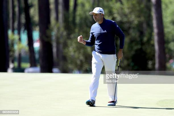 Sergio Garcia of Spain reacts during the second round of the 2017 Masters Tournament at Augusta National Golf Club on April 7 2017 in Augusta Georgia