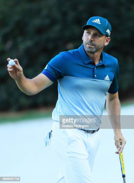 Sergio Garcia of Spain reacts on the 13th green during the final round of the 2017 Masters Tournament at Augusta National Golf Club on April 9 2017...