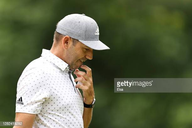Sergio Garcia of Spain reacts on the 14th green during the first round of the Travelers Championship at TPC River Highlands on June 25, 2020 in...