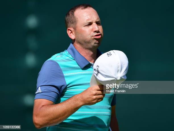 Sergio Garcia of Spain reacts on the 18th green during day one of the Nedbank Golf Challenge at Gary Player Golf Course on November 8 2018 in Sun...