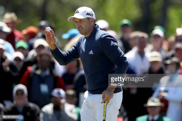 Sergio Garcia of Spain reacts to a birdie putt on the ninth hole during the second round of the 2017 Masters Tournament at Augusta National Golf Club...