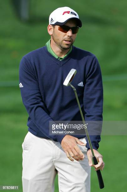 Sergio Garcia of Spain reacts to a missed putt during the first round of the Transitions Championship at the Innisbrook Resort and Golf Club held on...