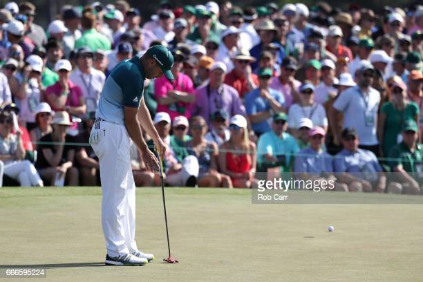 Sergio Garcia of Spain reacts to a missed putt for birdie on the ninth hole during the final round of the 2017 Masters Tournament at Augusta National...