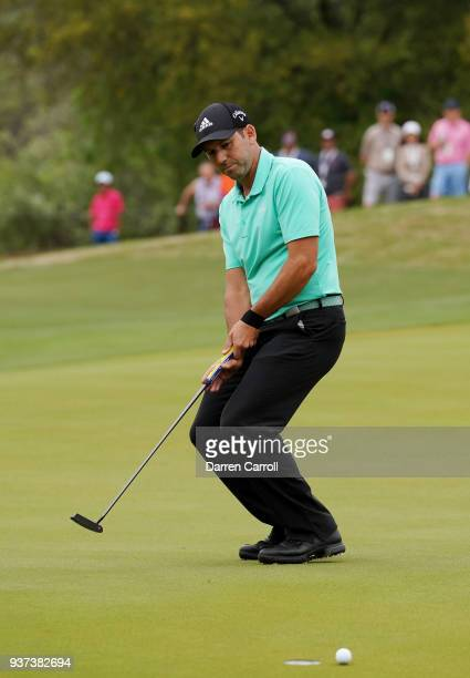 Sergio Garcia of Spain reacts to a missed putt on the 16th green during the fourth round of the World Golf ChampionshipsDell Match Play at Austin...