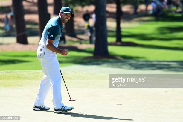 Sergio Garcia of Spain reacts to a parsaving putt on the seventh hole during the final round of the 2017 Masters Tournament at Augusta National Golf...