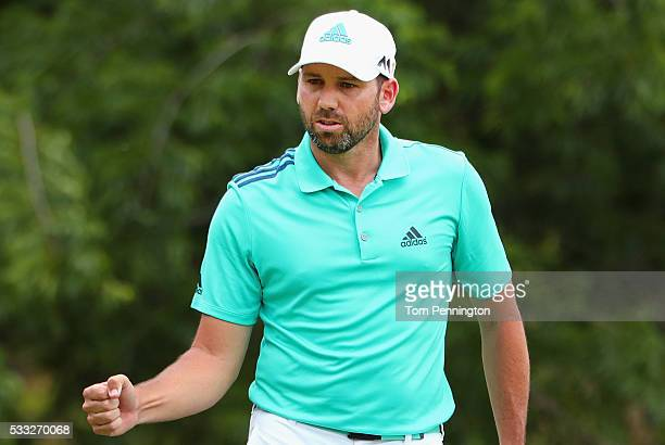 Sergio Garcia of Spain reacts to a putt on the eighth green during Round Three at the AT&T Byron Nelson on May 21, 2016 in Irving, Texas.