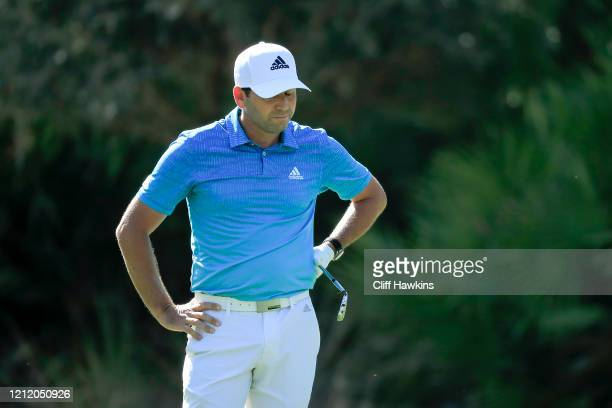 Sergio Garcia of Spain reacts to a shot on the 10th hole during the first round of The PLAYERS Championship on The Stadium Course at TPC Sawgrass on...
