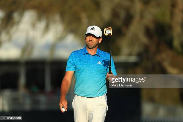 Sergio Garcia of Spain reacts to his putt on the 17th green during the first round of The PLAYERS Championship on The Stadium Course at TPC Sawgrass...