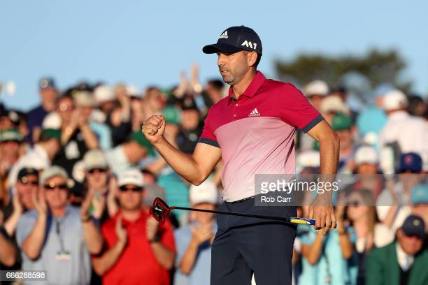 Sergio Garcia of Spain reacts to his putt on the 18th hole during the third round of the 2017 Masters Tournament at Augusta National Golf Club on...