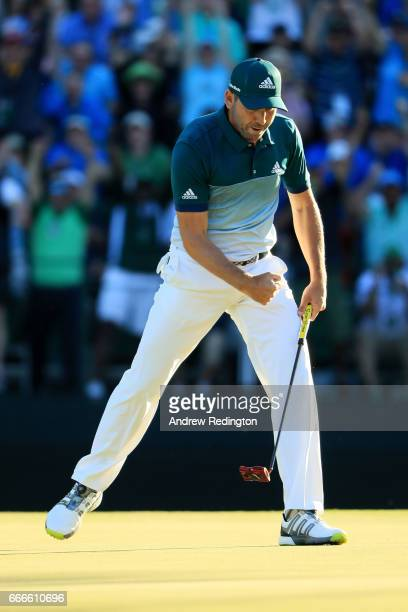 Sergio Garcia of Spain reacts to making a putt for eagle on the 15th green during the final round of the 2017 Masters Tournament at Augusta National...